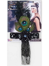 Forum 68338 Black Flapper Headband With Peacock Feathers NS