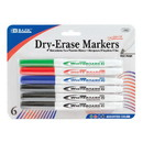 Bazic Products 1202 Assorted Color Fine Tip Dry-Erase Marker (6/Pack)