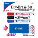 Bazic Products 1208 3 Asst. Color Chisel Tip Dry Erase Marker w/ Eraser