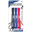 Bazic Products 1247 Assorted Color Chisel Tip Desk Style Permanent Markers (3/Pack)