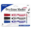 Bazic Products 1250 Assorted Color Chisel Tip Dry-Erase Markers (3/Pack)