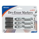 Bazic Products 1251 Black Chisel Tip Dry-Erase Markers (3/Pack)