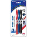 Bazic Products 17067 Frizz Assorted Color Erasable Gel Retractable Pen with Grip (3/Pack)
