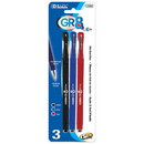 Bazic Products 17091 GR8 Assorted Color Oil-Gel Ink Pen w/ Rubberized Barrel (3/Pack)