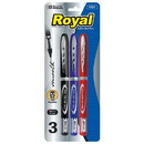 Bazic Products 1721 Royal Assorted Color Rollerball Pen (3/Pack)