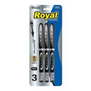 Bazic Products 1723 Royal Black Rollerball Pen (3/Pack)