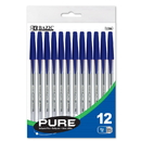 Bazic Products 1756 Pure Blue Stick Pen (12/Pack)