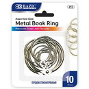 Bazic Products 215 Assorted Size Metal Book Rings (10/Pack)