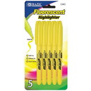 Bazic Products 2300 Yellow Pen Style Fluorescent Highlighter w/ Pocket Clip (5/Pk)