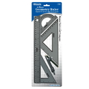 Bazic Products 332 4-Piece Geometry Ruler Combination Sets w/ Compass