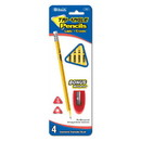 Bazic Products 740 4 #2 Triangle Yellow Pencil w/ Sharpener