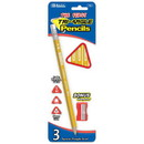 Bazic Products 741 3 #2 The First Triangle Jumbo Yellow Pencil w/ Sharpener