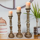 Benjara BM00082 Handcrafted Distressed Wooden Candle Holder with Pedestal Body, Brown, Set of 3