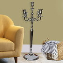 Benjara BM00829 48 Inches Handcrafted 5 Arms Aluminum Candelabra with Fluted Top, Silver