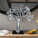 Benjara BM01183 Stylish Aluminum Tree Decor with Block Base, Silver and Black