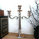 Benjara BM01831 21 Inches Handcrafted 3 Arms Aluminum Candelabra in Traditional Style, Polished Silver