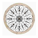 Benzara BM03767 Round Intricate Metal Scrollwork WallDecor with Wooden Frame, Cream and Brown