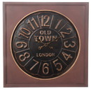Benjara BM101009 Round Wall Clock with Wooden Square Frame and Raised Numerals, Copper