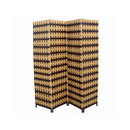 Benjara BM101168 Wood and Paper Straw Weave 4 Panel Screen with 2 Inch Legs, Brown