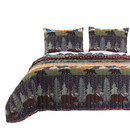 Benjara BM116916 3 Piece Full Size Quilt Set with Nature Inspired Print, Multicolor