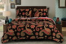 Benjara BM116959 Paisley Pattern Print Queen Quilt Set with Fabric Bound Edges, Multicolor