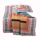Benjara BM116974 60 x 50 Polyester Throw Blanket with Geometric and Floral Print, Multicolor