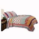 Benjara BM116977 Geometric and Floral Print King Size Quilt Set with 2 Shams, Multicolor
