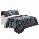 Benjara BM116983 3 Piece King Size Quilt Set with Medallion Print, Dark Blue and Green