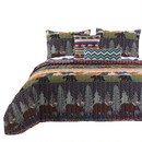 Benjara BM117683 5 Piece Full Size Quilt Set with Nature Inspired Print, Multicolor