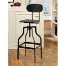 Benzara BM119852 Industrial Style Wooden Swivel Bar Stool With Black Metal Base, Dark Brown