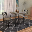 Benzara BM119853 Industrial Style 3 Piece Dining Table Wood And Metal, Brown And Black