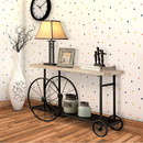 Benzara BM119862 Sofa Console Table With Wooden Top And Metal Wheels Base, Brown And Black