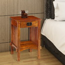 Benzara BM122854 Spacious Mango Wood Nightstand with Slatted Side Panels, Brown