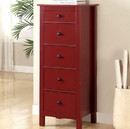 Benzara BM122951 Contemporary Style 5 Drawers Wooden Chest, Red