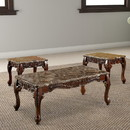 Benzara BM123017 Wooden Coffee Table and End Tables Set with Faux Marble Top, Pack of 3, Brown