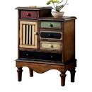 Benzara BM123058 Vintage Style Accent Chest With 5 Drawers, Walnut Brown