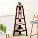 Benzara BM123273 Lyss Contemporary Ladder Shelf In Cherry Finish