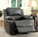Benzara BM123479 Sarles Transitional Gray Bonded Leather Recliner