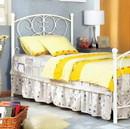 Benzara BM123592 Princess Design Twin Size Metal Bed, White