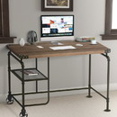Benzara BM123648 Industrial Metal Writing Desk With Wooden Top, Brown and Black