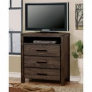Benzara BM123884 Contemporary Style Wooden Media Chest, Dark Gray