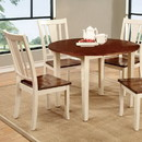 Benzara BM123910 Dover Transitional Dining Table, Vintage White & Cherry