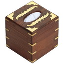 Benzara BM123979 Benzara Handmade Wooden Tissue Box With Brass Work, Brown