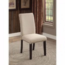 Benzara BM131128 Dodson I Transitional Side Chair, Black and Ivory, Set Of 2