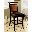 Benzara BM131173 Salida II Counter Height Chair , Black & Antique Oak , Set Of Two