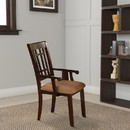 Benzara BM131175 Central Park I Transitional Arm Chair, Dark Brown Finish, Set Of 2