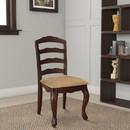 Benzara BM131180 Townsville Cottage Side Chair, Dark Walnut Finish, Set Of 2