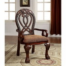 Benzara BM131195 Wyndmere Traditional Arm Chair, Cherry Finish, Set Of 2