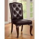 Benzara BM131228 Bellagio Side Chair With Leather Upholstery, Brown Cherry, Set Of 2