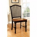 Benzara BM131268 Mayville Cottage Side Chair, Black & Antique Oak Finsh, Set Of 2